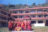 With the students of one of his classes in Taktse Institute