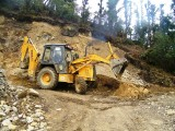 Excavator arrived to the village from Kathmandu